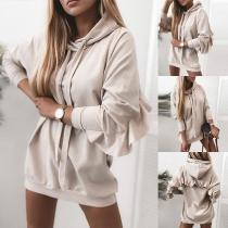 Fashion Solid Color Long Sleeve Hooded Ruffle Sweatshirt