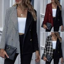 OL Style Plaid Spliced Long Sleeve Double-breasted Blazer Coat