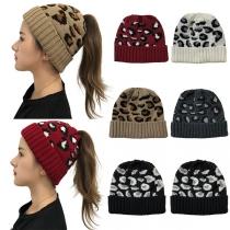Bonnets en Tricot à Imprimé Léopard à la Mode