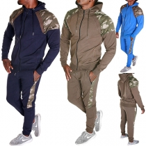Fashion Camouflage Printed Spliced Long Sleeve Hooded Man's Sports Suit