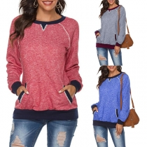 Fashion Contrast Color Long Sleeve Round Sweatshirt