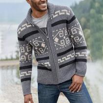 Fashion Long Sleeve Printed Man's Knit Cardigan