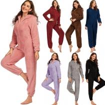 Cute Style Long Sleeve Hooded Plush One-piece Nightwear