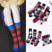 Chaussettes Imprimées à la Mode, couleurs contrastées, 2 paires / ensemble