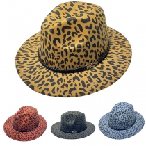 Fashion Leopard Printed Wide Brim Hat