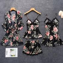 Sexy Ensemble de Vêtements de Nuit de Quatre Pièces en Dentelle: Top + Shorts + Sling Dress + Robe