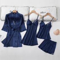 Sexy Ensemble de Quatre Pièces: Top à bretelles + Short + Robe à bretelles + Robe de Nuit