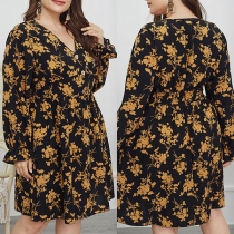 Sexy V-neck Long Sleeve High Waist Printed Over-sized Dress