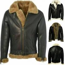 Manteau en Cuir Synthétique Doublure en Peluche à Col POLO en Fourrure Synthétique Manches Longues pour Homme