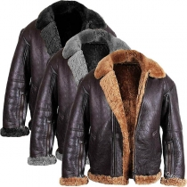 Fashion Solid Color Long Sleeve Plush Lining Man's PU Leather Coat