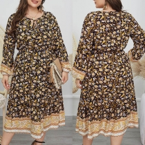 Fresh Style Long Sleeve Round Neck Printed Over-sized Dress