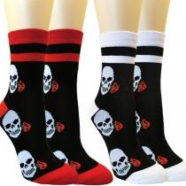 Chaussettes Imprimées Tête de Mort Couleur Contraste