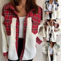Veste-chemise en Peluche à Imprimé Écossais et Encolure Haute