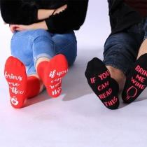 Chaussettes Imprimées avec Lettres de Verre à Vin de Style Chic