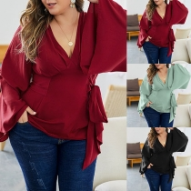 Sexy V-neck Trumpet Sleeve Solid Color Lace-up Top
