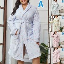 Fashion Long Sleeve Printed Plush Robe