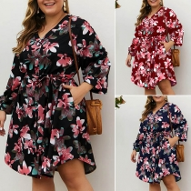 Fresh Style Long Sleeve V-neck High Waist Printed Dress