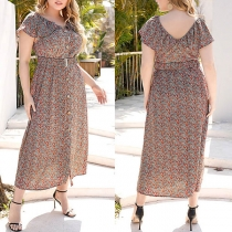 Sweet Style Short Sleeve V-neck High Waist Plus-size Printed Dress