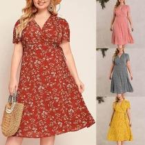 Sexy V-neck Short Sleeve High Waist Plus-size Printed Dress
