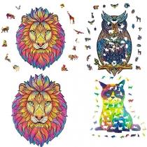 Puzzles en bois, Apprentissage de la décompression Jigsaw Puzzle Jouet meilleur cadeau pour adultes et enfants, Le puzzle de forme unique pièce le hibou charmant / le lion mystérieux / le chat bouleversé