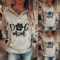 Casual Style Long Sleeve Hooded Printed Sweatshirt