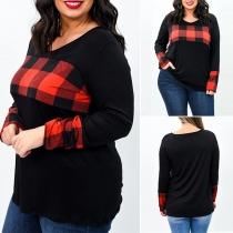 Fashion Plaid Spliced Long Sleeve Round Neck Plus Size T-shirt