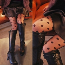 Bas de Leggings Imprimés à Pois Taille Haute