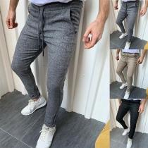 Pantalon pour Homme Taille Moyenne Couleur Unie de Style Simple