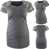 Fashion Camouflage Spliced Short Sleeve Round Neck Maternity T-shirt
