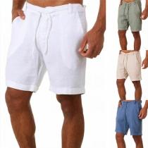 Fashion Solid Color Drawstring Waist Man's Shorts