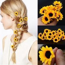 Accessoires pour Cheveux en Forme de Tournesol de Style Doux de 5 pcs/Set