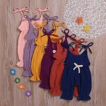 Fashion Solid Color Cotton Linen Children Overalls Jumpsuits