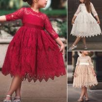 Sweet Style 3/4 Sleeve Round Neck Lace Children Princess Dress
