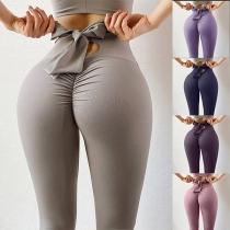 Leggings Extensibles à Taille Haute à Nœud Papillon de Couleur Unie à la Mode