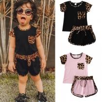 Fashion Leopard Printed Spliced Short Sleeve T-shirt + Shorts Children Set