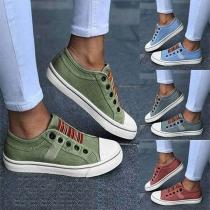 Chaussures en Toile à Talon Plat de Style Décontracté Bout Rond Rayé Épissé