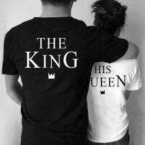 T-shirt Couple Imprimée Queen and King à Manches Courtes Col Rond