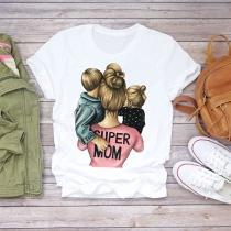 T-shirt Décontractée à Imprimée Super Mom