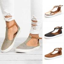Chaussures à Bout Rond à Talon Plat de Style Décontracté