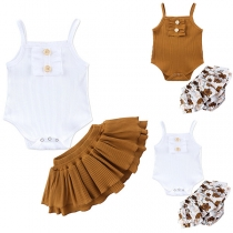 Sweet Style Sling Bodysuit + Skirt Two-piece Set for Babies