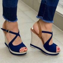 Sandales à Talons Compensés à la Mode