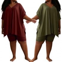 Casual Style Short Sleeve V-neck Loose Top + Shorts Plus-size Two-piece Set