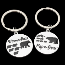 Cute Style Mama Bear Papa Bear Pendant Couple Key Chain