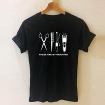 T-shirt à Motif Imprimé Tondeuse à Cheveux à Col Rond Manches Ccourtes de Style Chic