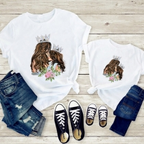 T-shirt Imprimé Maman et Fille à Manches Courtes et Col Rond
