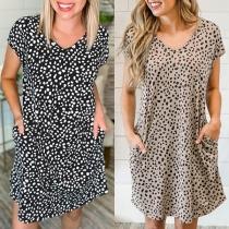 Fashion Short Sleeve V-neck Leopard Printed Loose Dress