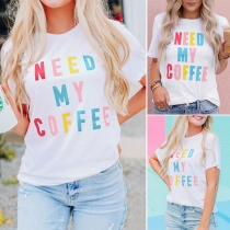 Casual Style Short Sleeve Round Neck Colorful Letters Printed T-shirt