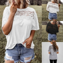 Fashion Solid Color Half Sleeve Round Neck Lace Spliced Loose T-shirt