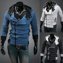 Sweat-Shirt Pull Décontracté Sportif à Capuche Zippé Revers Décoration de Rivets à Manches Longues Street Style pour Homme