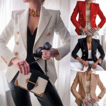 OL Style Long Sleeve Double-breasted Solid Color Blazer